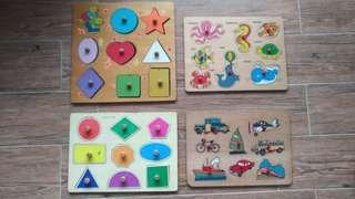 Wooden Peg Puzzles (set of 4)