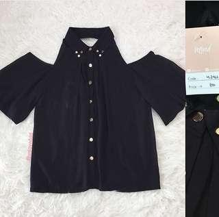 VL8467 Korean black studded cold shoulder shirt top