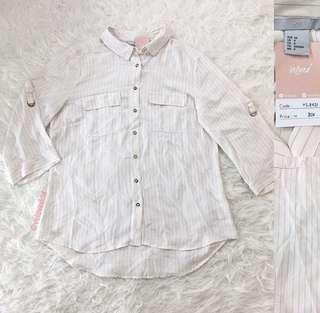 VL8481 Hnm soft grey stripe button down shirt sleeve top