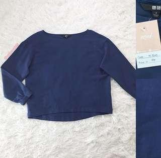 VL8245 Uniqlo navy sleeve flow top