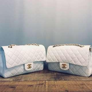 Authentic Chanel White Lambskin Classic Flap Bags w 24k Gold Hardware