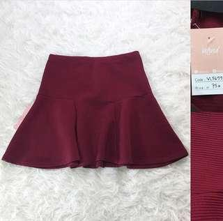 VL5699 Korean maroon textured skirt