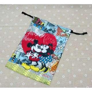 迪士尼 米奇 米尼 復古風 束口袋 收納袋 化妝包 置物袋 萬用袋 小物收納 雜物袋 收納包 卡通束口袋