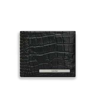 NEW Calvin Klein CK Men's Croc Billfold Wallet with Coin Pocket (Black)