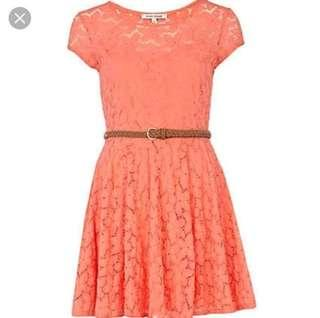 VL8606 River island dark peach flo lace dress -