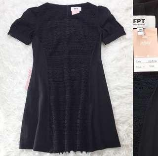 VL8341 FPT black crochet lace front puff sleeve dress