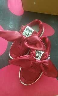 Girls red ribbon shoes