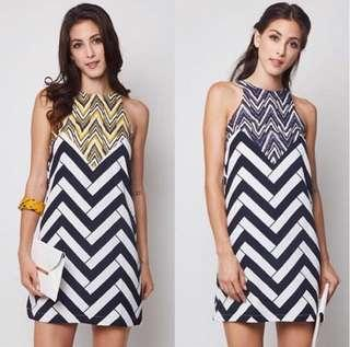 VL8612 MDS chevron print shift dress