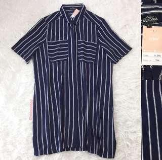 VL8463 Zalora navy stripe button down shirt dress