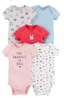 New Carter's 5 Piece Set Onesies for Girls 3M