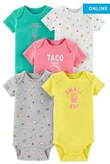 New Carter's 5 Piece Set Onesies for Girls 6M
