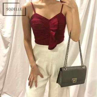 CNY INSTOCKS Knit ruffle detail spag top