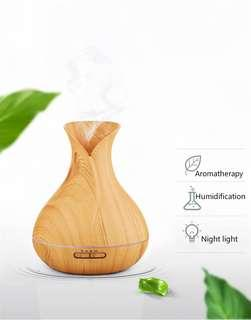 Air Humidifier Ultrasonic Aroma Diffuser Cool Mist Humidifier Wooden Air Purifier Color Changing Air Treatment Mist Maker-intl