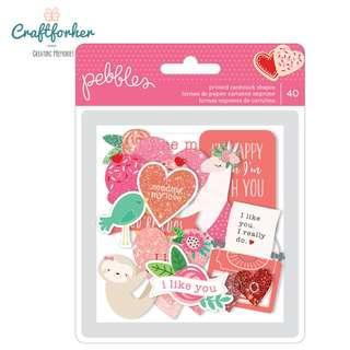 🚚 ★Embellishment★ Loves Me Ephemera with Glitter Accents Valentine Quotes by Pebbles
