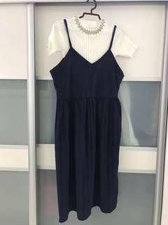 White shirt plus Navy Blue Dress