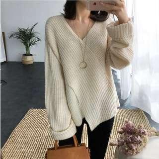 V領毛衣 米白色針織交差上冷衫 beige white knitted sweater jumper v neck kimono style wrap top
