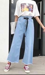 BN Light Blue Denim Culottes Boyfriend Jeans with Built In Belt