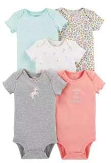 New Carter's 5 Piece Set Onesies for Girls 9M