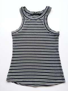 Forme blue stripes halter fitted top