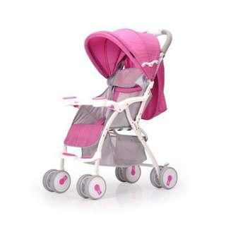 Reman baby stroller light folding children's trolley full canopy can sit reclining four-wheeled cart shock absorber portable
