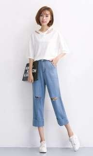 BN 3/4 Light Blue Denim Ripped Jeans Culottes with Slit