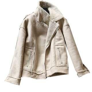 #半價衣服拍賣會 冬裝保暖仿麂皮 仿絨羊羔毛內刷毛外套 韓版機車寬鬆短款 夾克 騎士外套M號