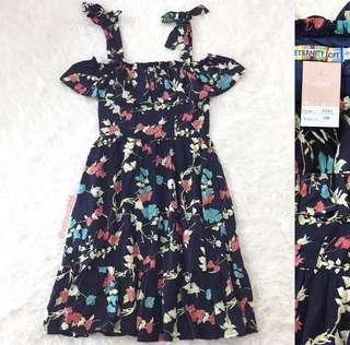 VL8617 Eternity loft navy floral tie strap cold shoulder ruffel hem dress