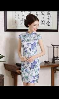 BN CNY Cheongsam Qipao - White with Blue Floral