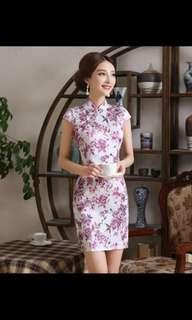 BN Cheongsam Qipao - White with Pink Floral