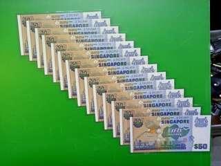 14pcs RUN  SINGAPORE  $50  BIRD SERIES  UNC