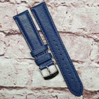 CNY SALE : Premium Genuine Saffiano Leather 20mm Watch Strap Navy Blue Colour (1028BU20)