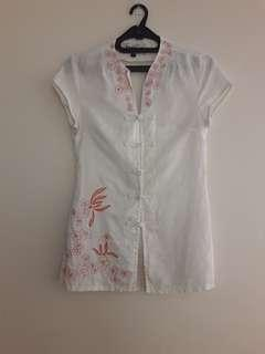 White Cheongsam Top with Embroidery