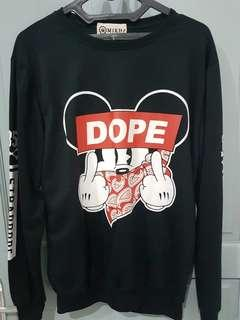 SWEATER MICKEY MOUSE DOPE HITAM