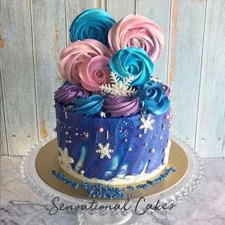 Meringue swirls rosette design galaxy rustic cream delicious cake #singaporecake