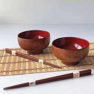 Japanese Bowls Wooden Bowl Wooden Chopsticks Serving Bowl Set Rice Bowl Soup Bowl Dessert Bowls