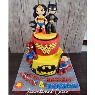 Superheroes Superman, Wonder woman, spiderman, batman kids theme birthday 3d cake #singaporecake