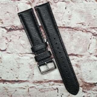 CNY SALE : Premium Genuine Saffiano Leather 20mm Watch Strap Black, Matching Stitch (1029BK20)