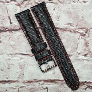 CNY SALE : Premium Genuine Saffiano Leather 20mm Watch Strap Black, Red Stitch (1030BKR20)