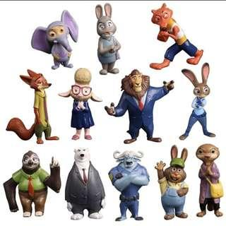 Set of 12pcs Zootopia Cartoon Utopia Action Movie Nick Fox Judy Rabbit Figurines