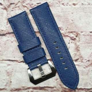 CNY SALE : Premium Genuine Saffiano Leather Short Length 22mm Watch Strap Navy Blue (1032BU22)