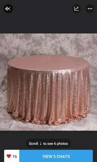 RENT - ROSE GOLD Sequin tablecloth. Dessert table. 21st birthday