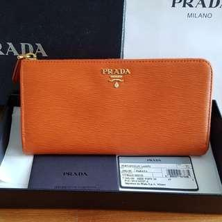 NEW Prada Milano Vitella Move Portafoglio Lampo L-shaped Zipper Long Leather Wallet (Papaya Orange) [NON NEGO FINAL CLEARANCE]