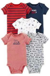 New Carter's 5 Piece Set Onesies for Boys 9M