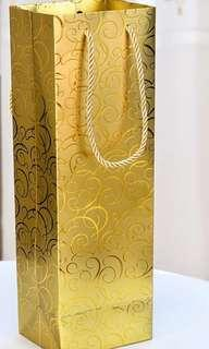 Gold colour wine gift bag