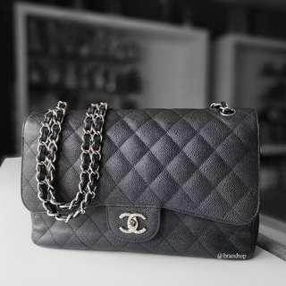 6b5147d05a1aee Authentic Chanel Black Caviar Jumbo Double Flap WSH
