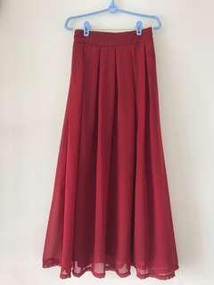 🚚 Basic Wine Red Burgundy Maxi Skirt