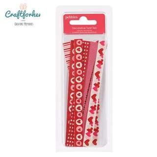 🚚 ★Embellishment★ Pebbles With Love Twist Ties Valentine Decorative Embellishment 10pcs