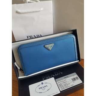 NEW Prada Tessuto Vitello Portafoglio Lampo Long Nylon Continental Black Long Wallet (Blue)  [NON NEGO FINAL CLEARANCE]