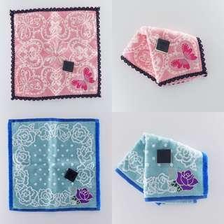 ANNA SUI lace邊粉紅蝴蝶小毛巾