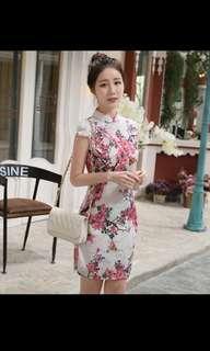 BN Cheongsam Qipao - Cherry Blossoms (White w Reddish Pink)